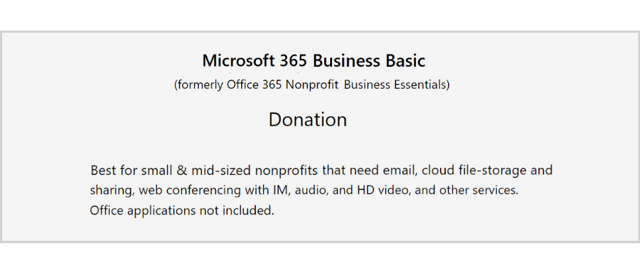 free email hosting for nonprofits - Microsoft 365 Business Basic
