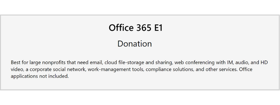 free email hosting for nonprofits - Office 365 E1