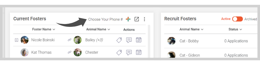 Fosterspace - Select your phone number