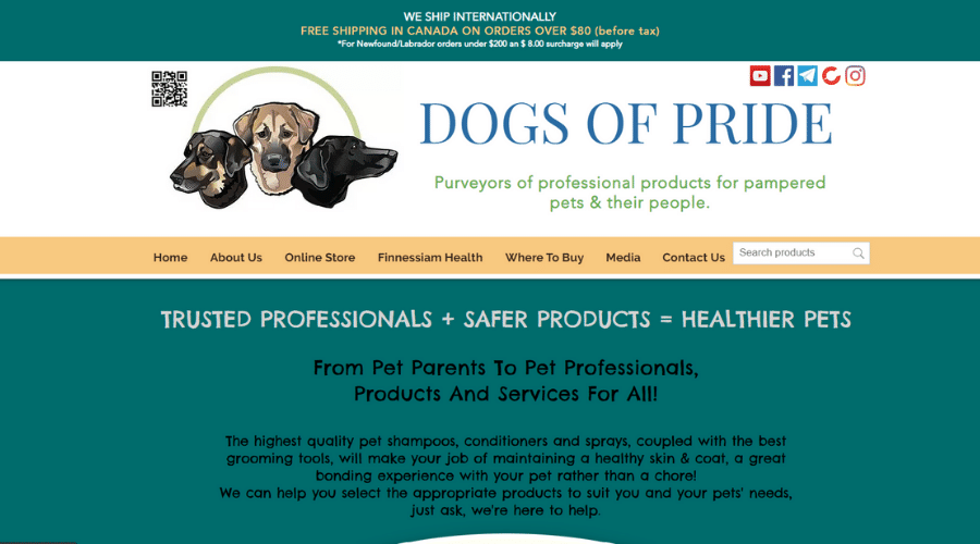 Dogs of Pride Canadian Distributor of Finnessiam Health and Safe Supplies for Pets