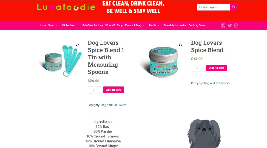 Luvafoodie Dog Store Offers All-Natural Spice Blends for Pets